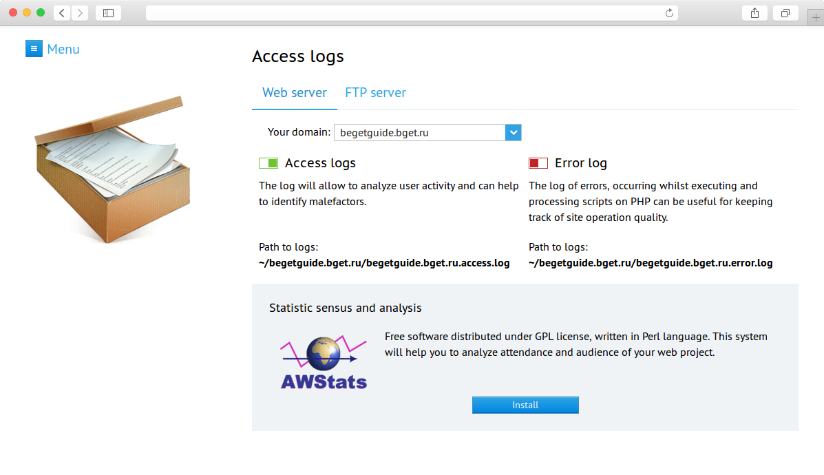 Logs  Manage Apache and FTP logs in Control panel